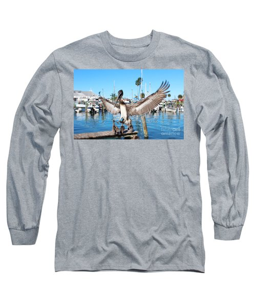 Pelican Flying In Long Sleeve T-Shirt