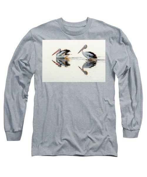 Pelicans At Dusk Long Sleeve T-Shirt by Werner Padarin