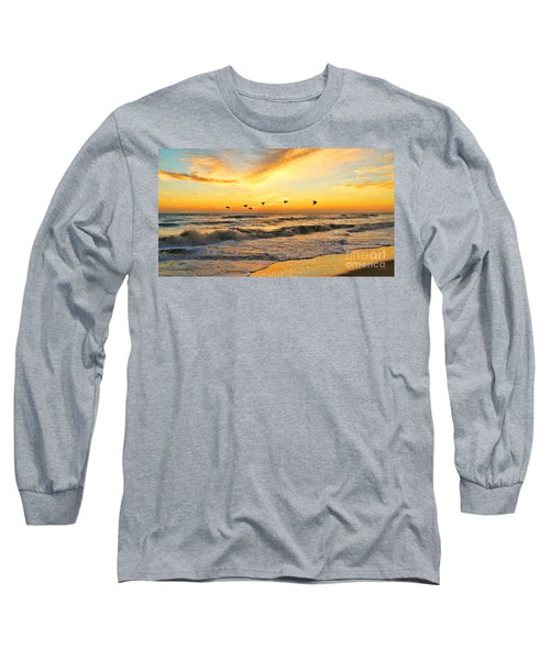 Pelicans At Sunrise  Signed 4651b 2  Long Sleeve T-Shirt