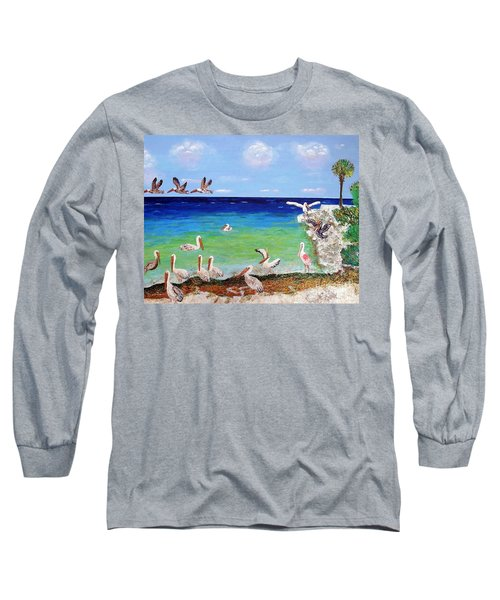 Long Sleeve T-Shirt featuring the painting Pelicans by Vicky Tarcau
