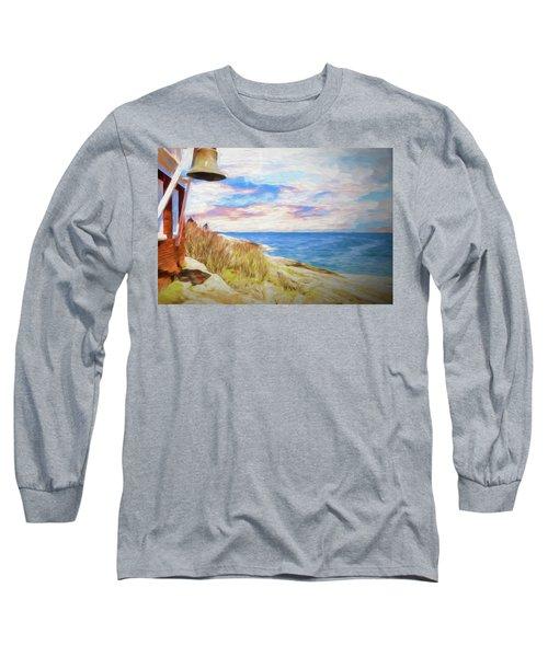 Pemaquid Lighthouse Bell On Maine Rocky Coast. Long Sleeve T-Shirt