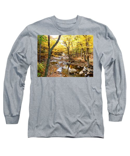 Pemigwasett River At The Flume Long Sleeve T-Shirt by Catherine Gagne