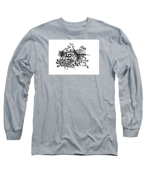 Long Sleeve T-Shirt featuring the drawing Pen And Ink Art Love Black And White Art by Saribelle Rodriguez