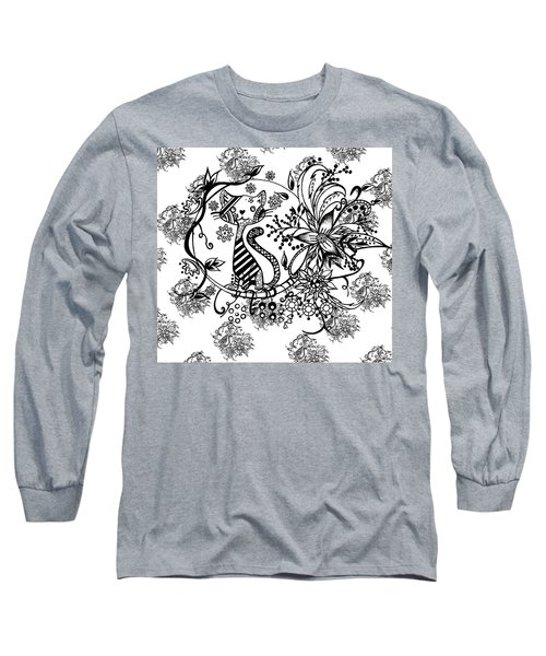 Long Sleeve T-Shirt featuring the drawing Pen And Ink Cat Pattern Black And White by Saribelle Rodriguez