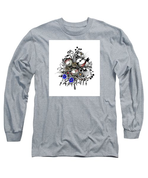 Long Sleeve T-Shirt featuring the drawing Pen And Ink Drawing Apples Wall Decor  by Saribelle Rodriguez