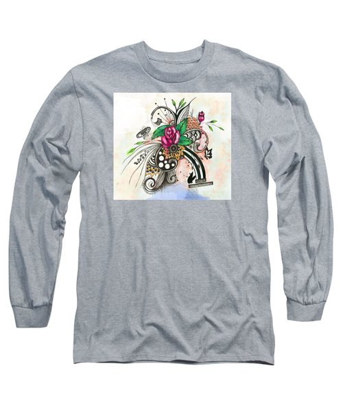 Long Sleeve T-Shirt featuring the drawing Pen And Ink Drawing Rose Colorful  Art by Saribelle Rodriguez