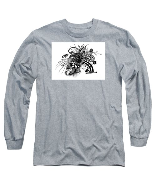 Long Sleeve T-Shirt featuring the drawing Pen And Ink Drawing Rose by Saribelle Rodriguez