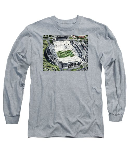 Penn State Beaver Stadium Whiteout Game University Psu Nittany Lions Joe Paterno Long Sleeve T-Shirt by Laura Row