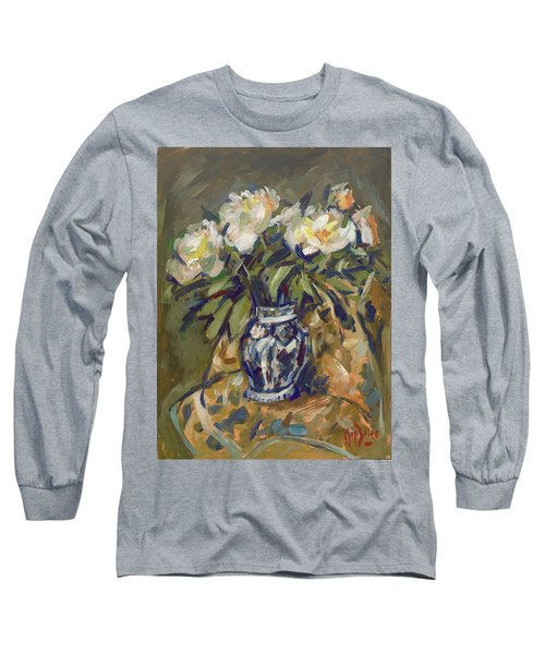Peonies In Delft Blue Vase On Quilt Long Sleeve T-Shirt