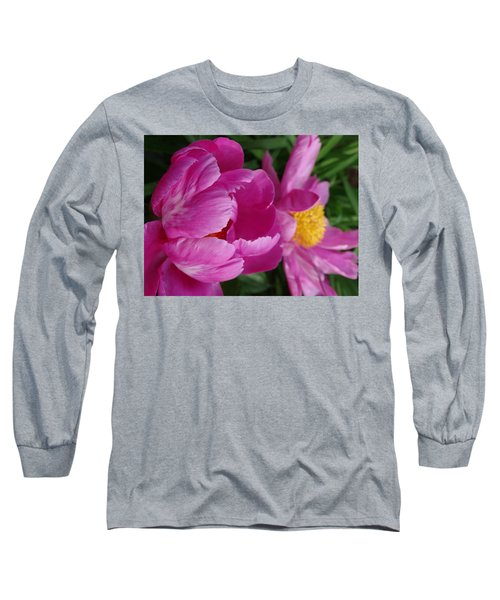 Peonies In Pink Long Sleeve T-Shirt by Rebecca Overton