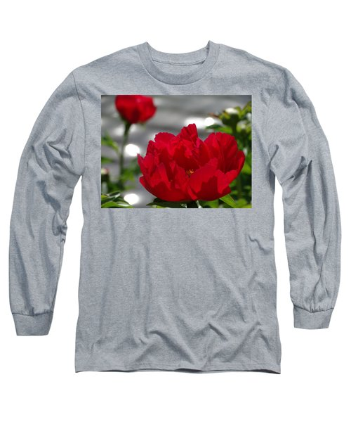 Peony In Red Long Sleeve T-Shirt by Rebecca Overton