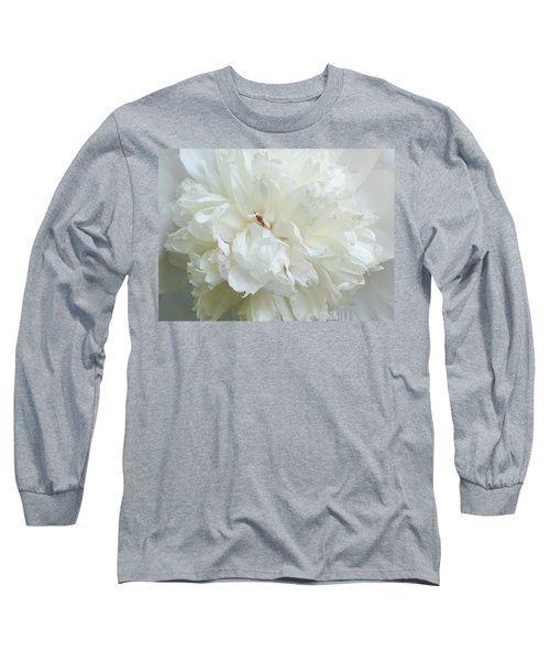 Peony In White Long Sleeve T-Shirt