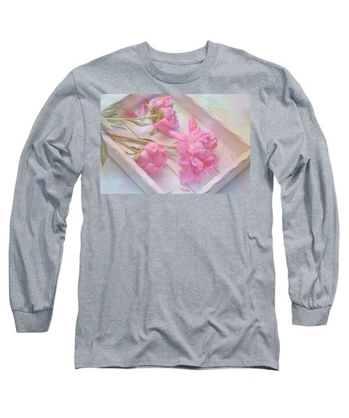 Peonies In White Box Long Sleeve T-Shirt