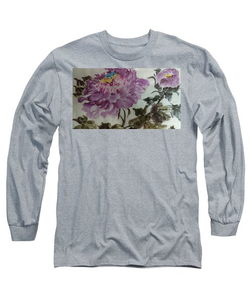 Long Sleeve T-Shirt featuring the painting Peony20170213_1 by Dongling Sun