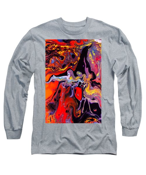 People - Abstract Colorful Mixed Media Painting Long Sleeve T-Shirt by Modern Art Prints