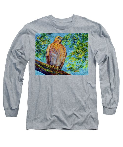 Perched Hawk Long Sleeve T-Shirt by AnnaJo Vahle