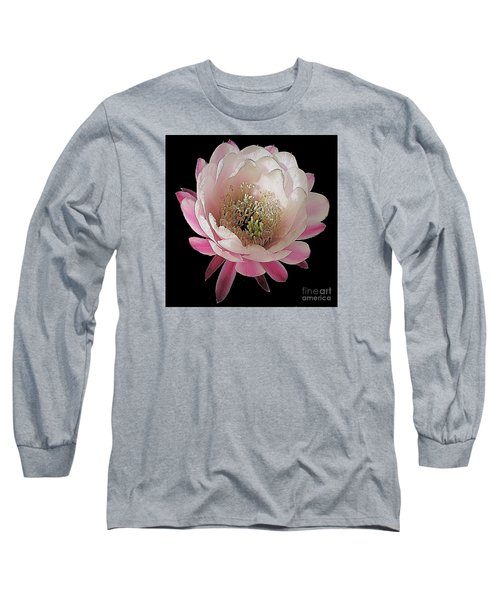 Perfect Pink And White Cactus Flower Long Sleeve T-Shirt by Merton Allen
