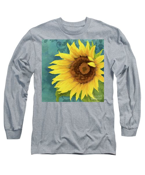 Long Sleeve T-Shirt featuring the painting Perfection - Russian Mammoth Sunflower by Audrey Jeanne Roberts