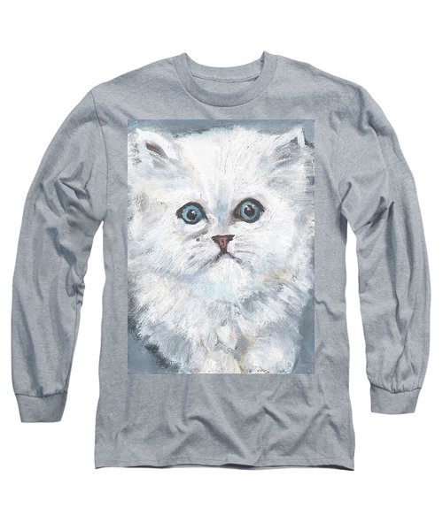 Long Sleeve T-Shirt featuring the painting Persian Kitty by Jessmyne Stephenson