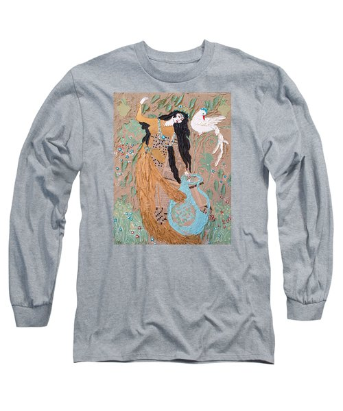 Long Sleeve T-Shirt featuring the painting Persian Painting 3d by Sima Amid Wewetzer