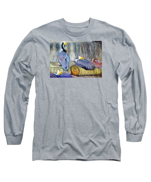 Peruvian Pelicans Three Pastel Long Sleeve T-Shirt by Antonia Citrino