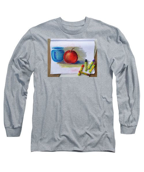 Long Sleeve T-Shirt featuring the drawing Petit Exercice En Pastel L'huile by Ginny Schmidt