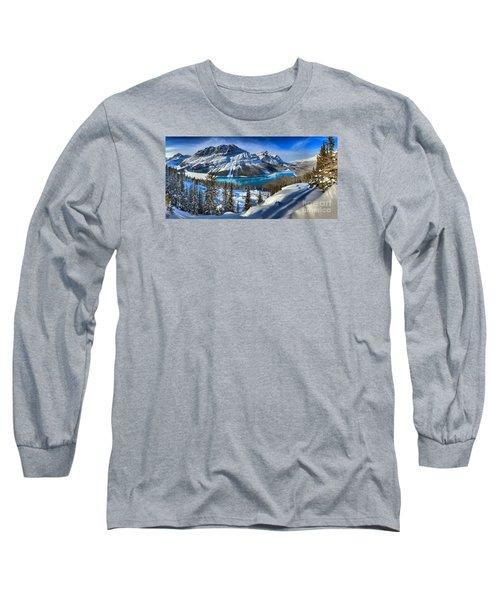 Peyto Lake Winter Panorama Long Sleeve T-Shirt by Adam Jewell