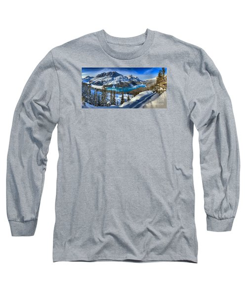 Peyto Lake Winter Panorama Long Sleeve T-Shirt