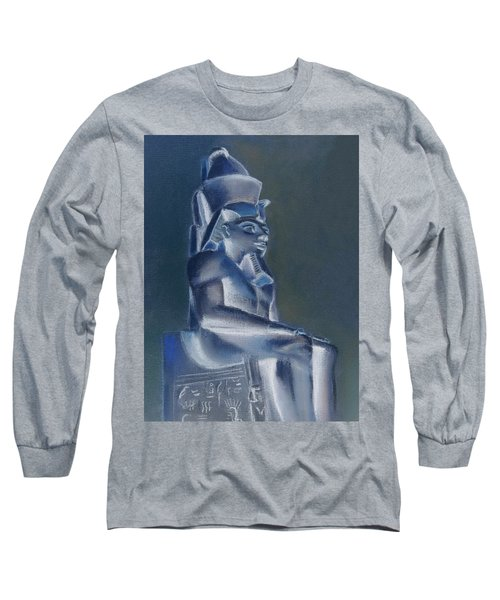 Long Sleeve T-Shirt featuring the mixed media Pharaoh In Blue by Elizabeth Lock