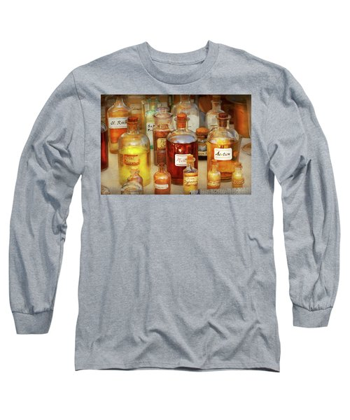 Long Sleeve T-Shirt featuring the photograph Pharmacy - Serums And Elixirs by Mike Savad
