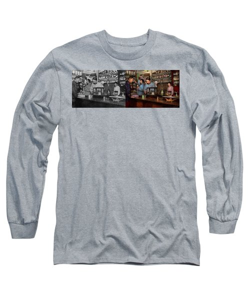 Long Sleeve T-Shirt featuring the photograph Pharmacy - The Dispensing Chemist 1918 - Side By Side by Mike Savad