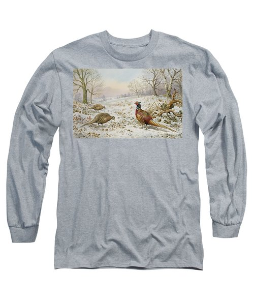 Pheasant And Partridges In A Snowy Landscape Long Sleeve T-Shirt by Carl Donner