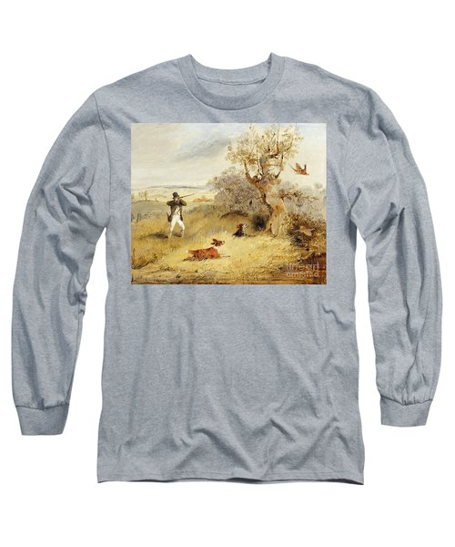 Pheasant Shooting Long Sleeve T-Shirt by Henry Thomas Alken