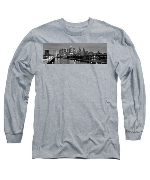 Philadelphia Philly Skyline At Dusk From Near South Bw Black And White Panorama Long Sleeve T-Shirt by Jon Holiday