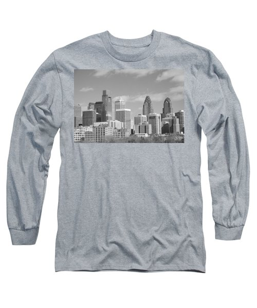Philly Skyscrapers Black And White Long Sleeve T-Shirt