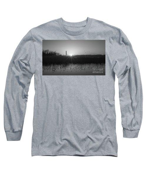 Phragmites Reflections Bw Long Sleeve T-Shirt