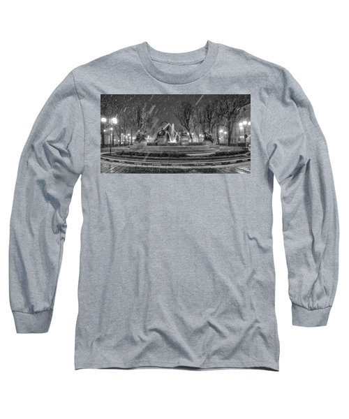 Long Sleeve T-Shirt featuring the photograph Piazza Solferino In Winter-1 by Sonny Marcyan