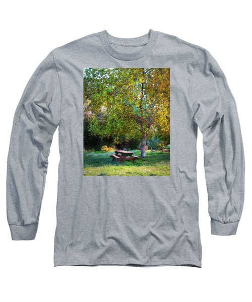 Long Sleeve T-Shirt featuring the photograph Picnic Table by Timothy Bulone