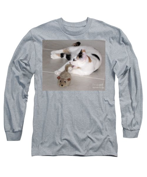 Long Sleeve T-Shirt featuring the photograph Pico And Toy Mouse by Phyllis Kaltenbach