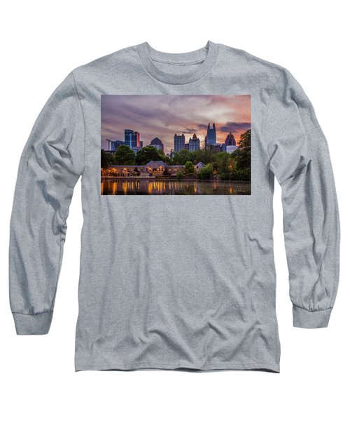 Long Sleeve T-Shirt featuring the photograph Piedmont Park Midtown Atlanta Sunset Art by Reid Callaway