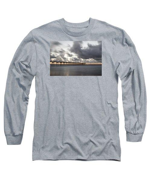 Pier In Misty Waters Long Sleeve T-Shirt by Ed Clark