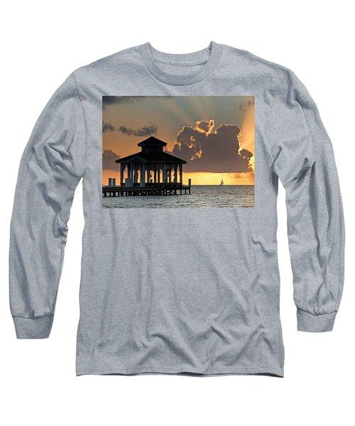 Pier Palapa And Distant Sailboat Long Sleeve T-Shirt