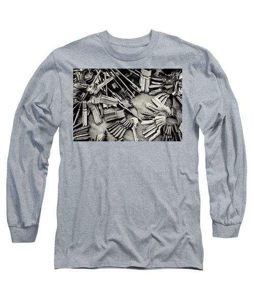 Piles Of Blank Keys In Monochrome Long Sleeve T-Shirt