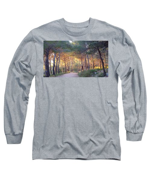 Pine Forest At Sunset Long Sleeve T-Shirt