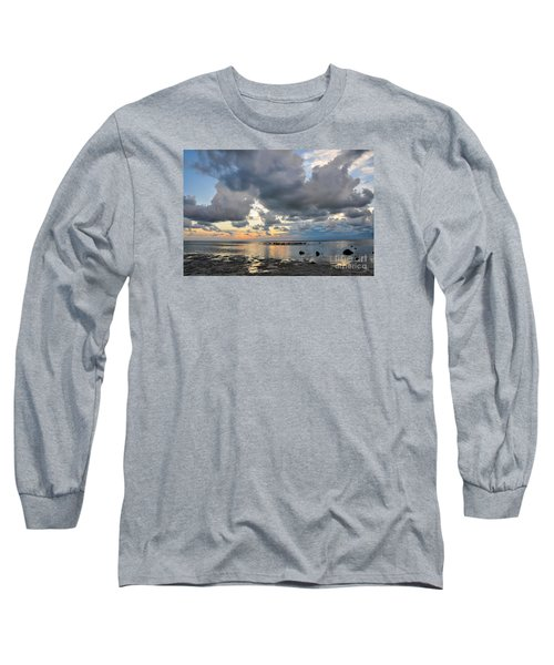 Pine Island Sunset Long Sleeve T-Shirt by Debbie Green