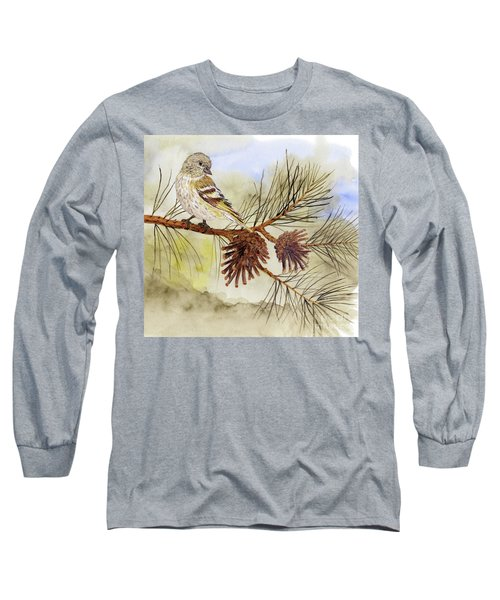 Pine Siskin Among The Pinecones Long Sleeve T-Shirt