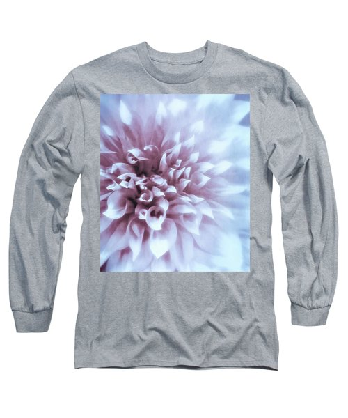 Pink And Blue Dahlia Long Sleeve T-Shirt