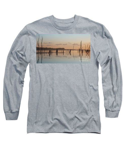 Pink And Blue Skies Long Sleeve T-Shirt by Debra Fedchin