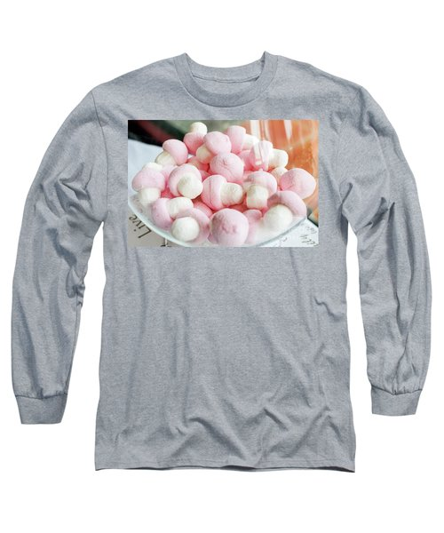 Pink And White Marshmallows In Bowl Long Sleeve T-Shirt