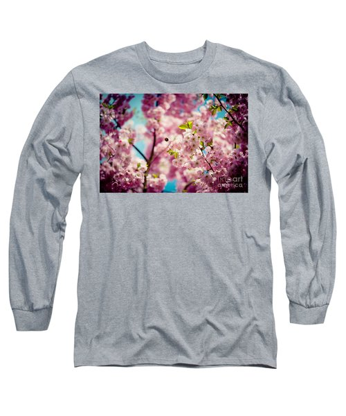Pink Cherry Blossoms Sakura With Bee Long Sleeve T-Shirt